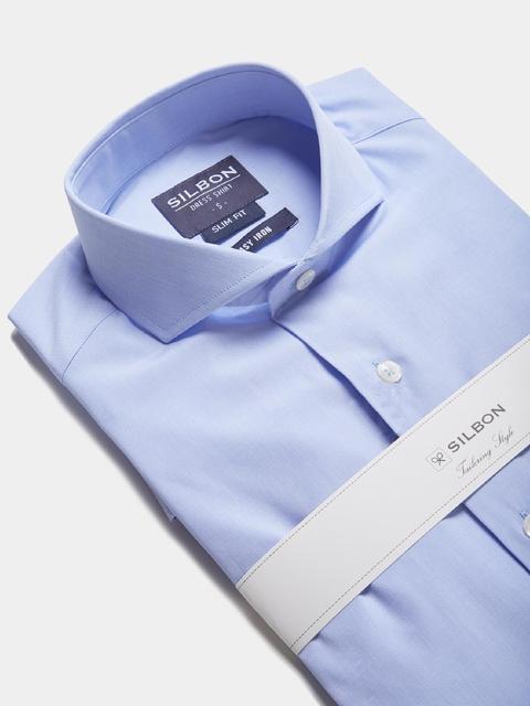 Camisa Vestir Celeste Lisa Easy Iron de Silbon en 21 Buttons