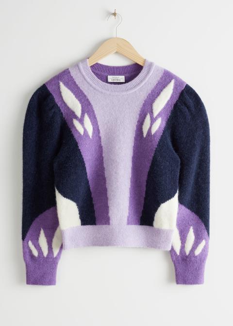 Colour Block Puff Shoulder Sweater