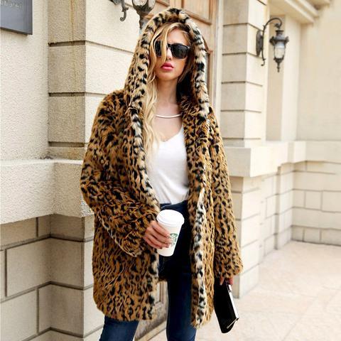 Abrigo Con Capucha De Leopardo De Parte Delantera Abierta