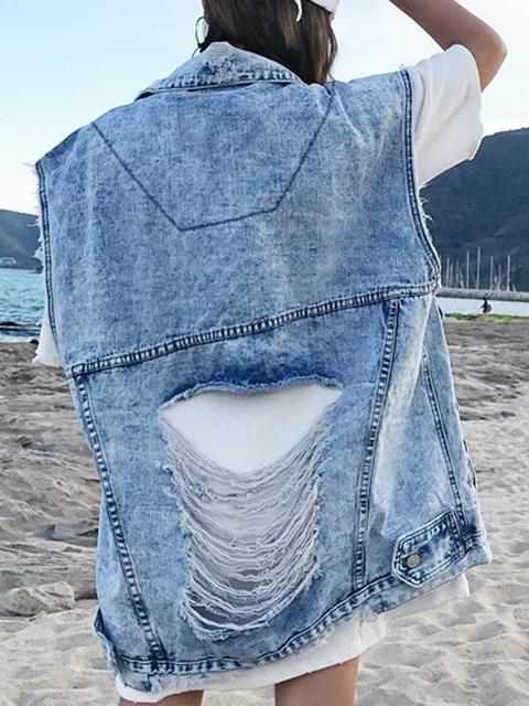 Giacca Petto Tasche Applicate Colletto Alla Rovescia Senza Maniche Gilet Di Jeans Boyfriend Gilet Blu from Cichic on 21 Buttons