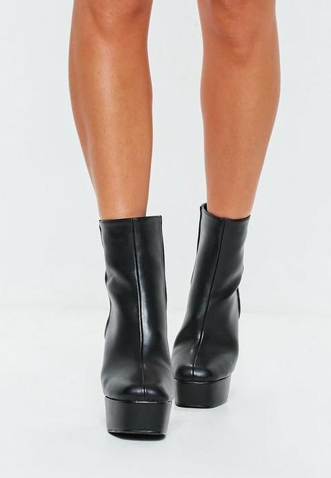 Black Chunky Platform Boots, Black from