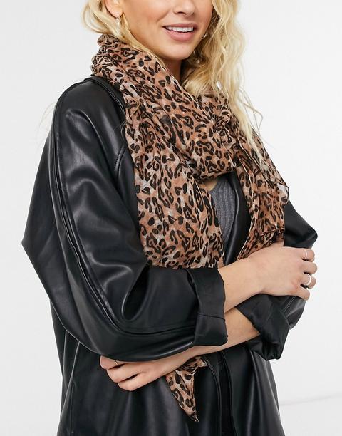 Fular Largo Multicolor Con Estampado De Leopardo De Miss Selfridge-marrón