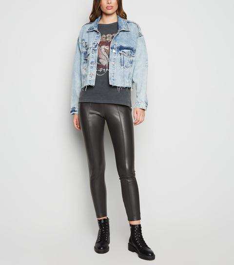 Black Coated Leather-look Zip Leggings New Look Vegan