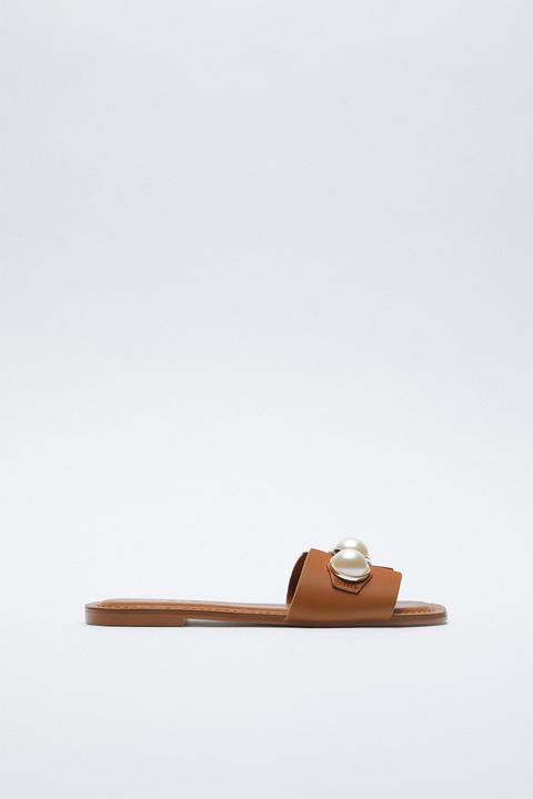 Sandales Plates En Cuir À Perles