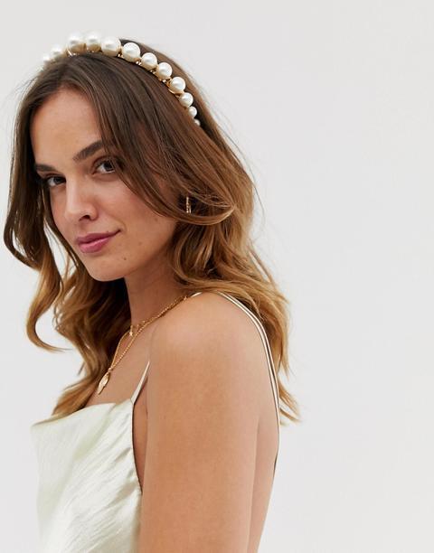 Asos Design Headband With Graduating Pearls In Gold Tone