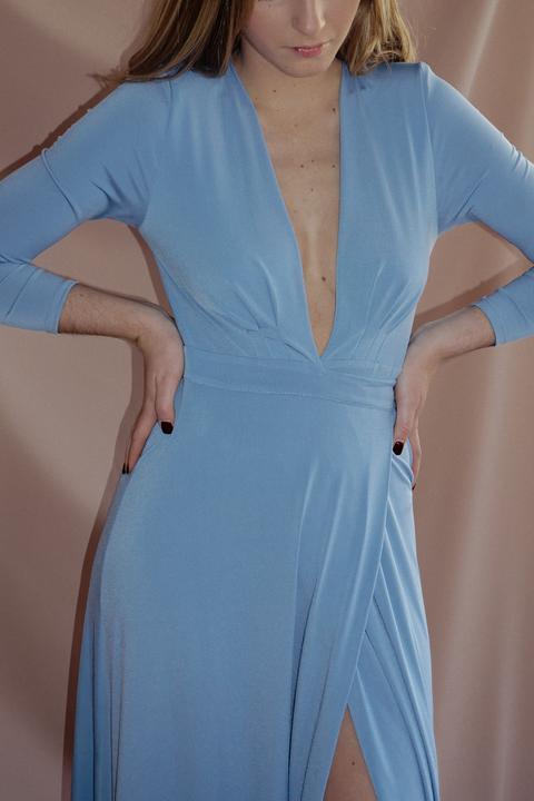 Vestido Alexandria Azul Pastel