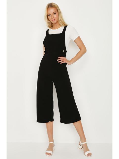 Black Pearl Detail Pinny Culotte Jumpsuit
