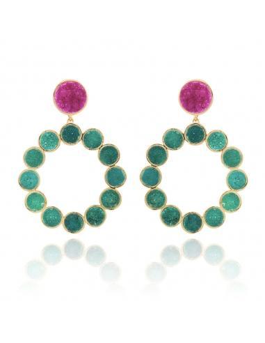 Boutique en ligne 43d88 5db56 Pendientes Lavani Garden Fucsia, Verde from Lavani Jewels on 21 Buttons