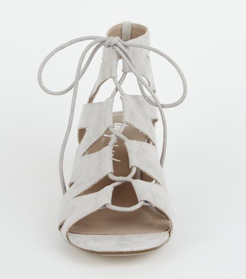 Grey Suedette Lace Up Ghillie Sandals