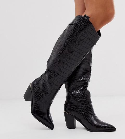 Botas De Caña Alta Estilo Western Sin Cierres En Cocodrilo Negro Cath Up De Asos Design Wide Fit