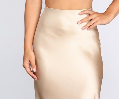 Minimalist Satin Midi Skirt