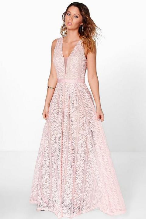Vestido Largo De Encaje Con Escote Pronunciado Boutique, Rosa de Boohoo en 21 Buttons