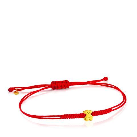 Pulsera Sweet Dolls De Oro Con Nylon Rojo