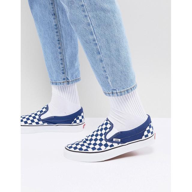 Vans Classic - Chaussures À Enfiler Motif Damier - Bleu Va38f7qcn ...