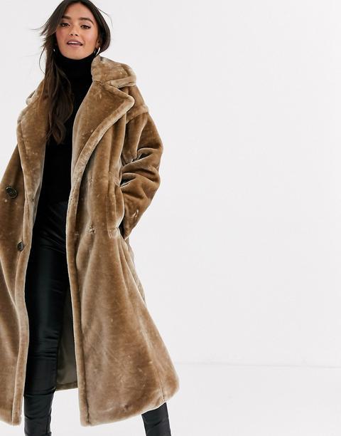 Asos Design Plush Faux Fur Maxi Coat With Seam Detailing - Gray