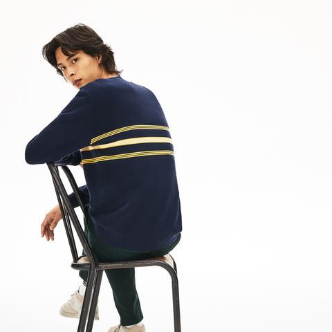 Jersey De Hombre En Piqué Texturizado De Rayas A Contraste Con Cuello Redondo