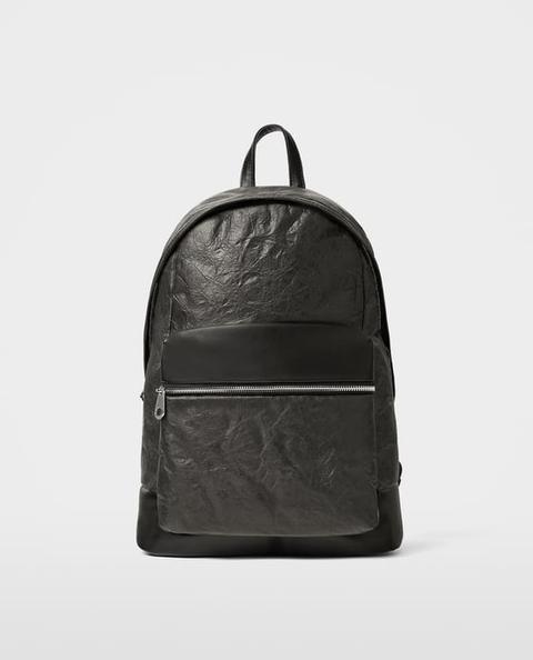 Zaino Nero Effetto Paper Bag