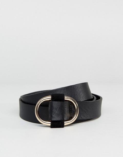 Pieces - Cintura In Pelle Nera - Nero