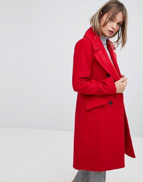 Oasis - Cappotto Doppiopetto Sartoriale - Rosso de ASOS en 21 Buttons