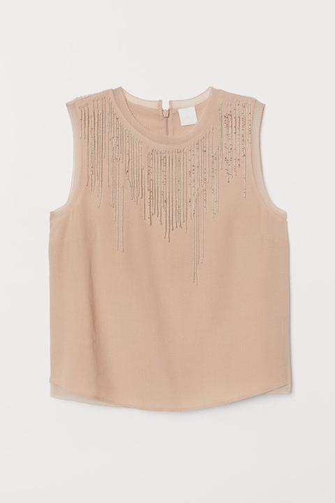 Top Con Flecos De Cuentas - Beis de H&M en 21 Buttons