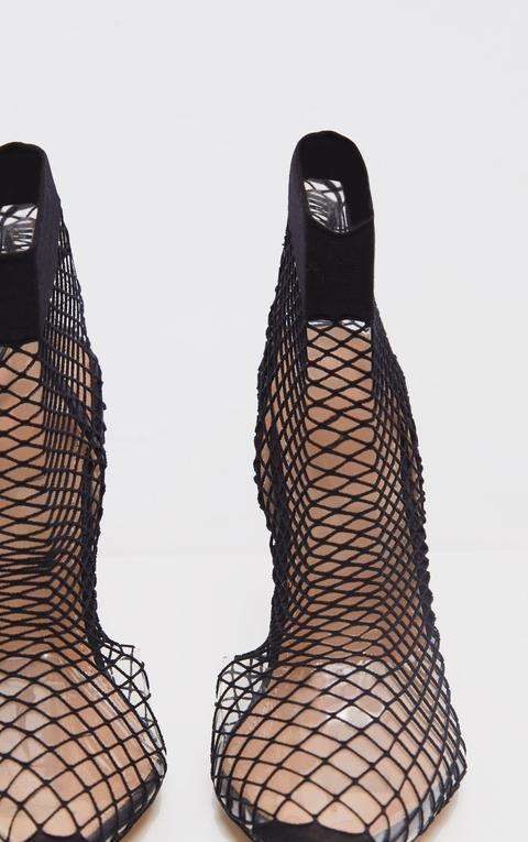 Black Fishnet Slingback Pointed Toe