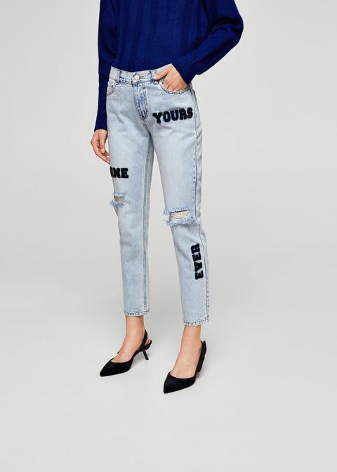 Jeans Straight Parches Pelo