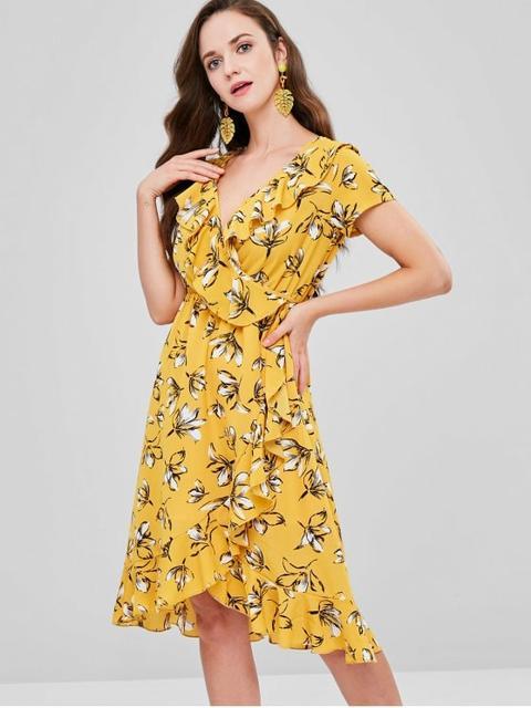 c9e7ff9c2456 Daisy Print Ruffle Sundress from Zaful on 21 Buttons