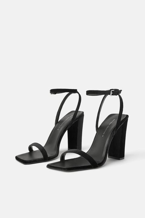Block Heel Velvet Sandals from Zara on
