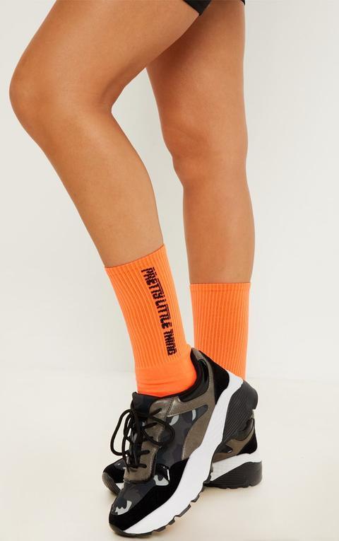 Prettylittlething Neon Orange Logo Socks