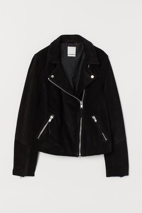 Cazadora Biker De Ante - Negro de H&M en 21 Buttons