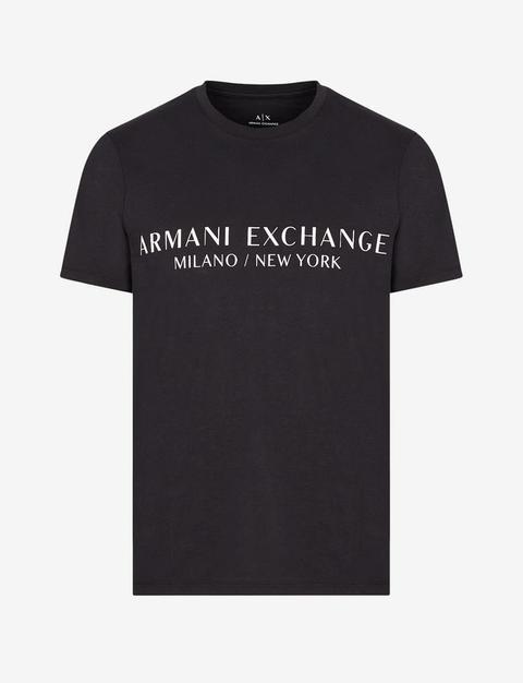 Armani Exchange Camiseta Con Logotipo Negro Algodón