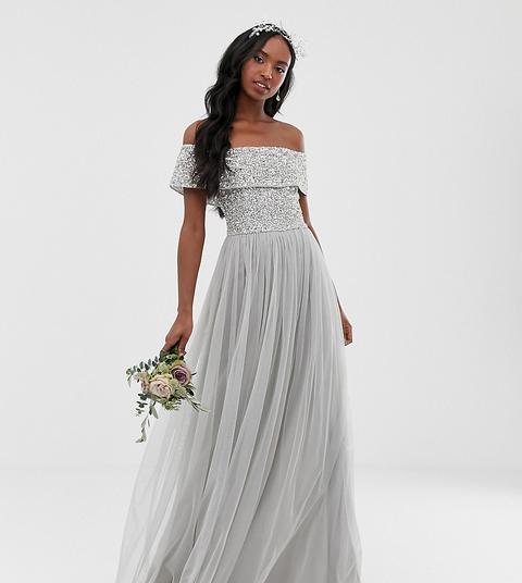 Vestido De Dama De Honor Largo De Tul Con Escote Bardot Y Delicadas Lentejuelas En Plateado De Maya Tall-gris