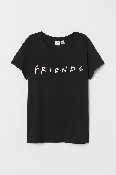 Camiseta Con Motivo - Negro