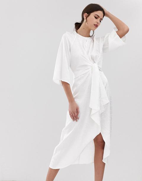 Vestido Midi Blanco Con Estampado Floral De Satén Con Detalle Cruzado Y.a.s de ASOS en 21 Buttons