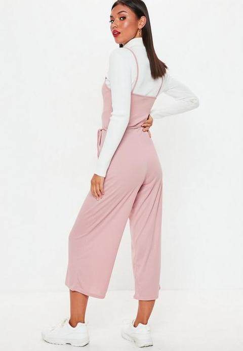 6d076eefa Pink Rib Cami Culotte Jumpsuit, Rose Pink de MISSGUIDED en 21 Buttons