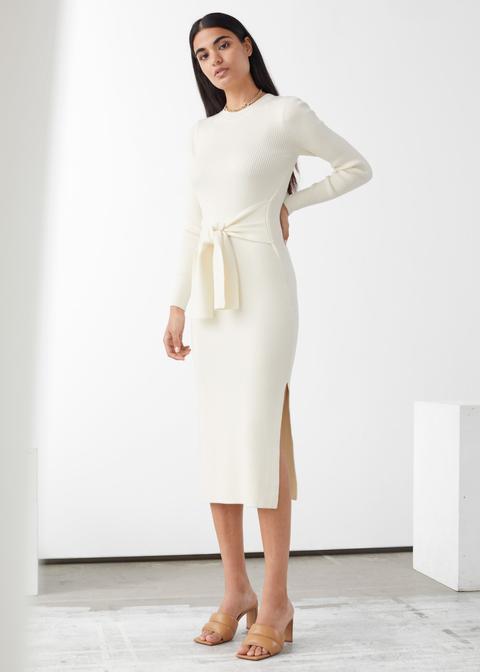Belted Rib Midi Dress