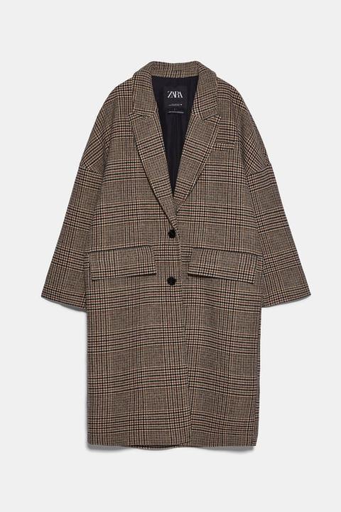 Abrigo Oversize Cuadros de Zara en 21 Buttons