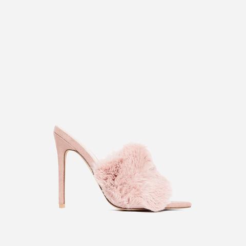 Savage Faux Fur Heel Mule In Pink Faux