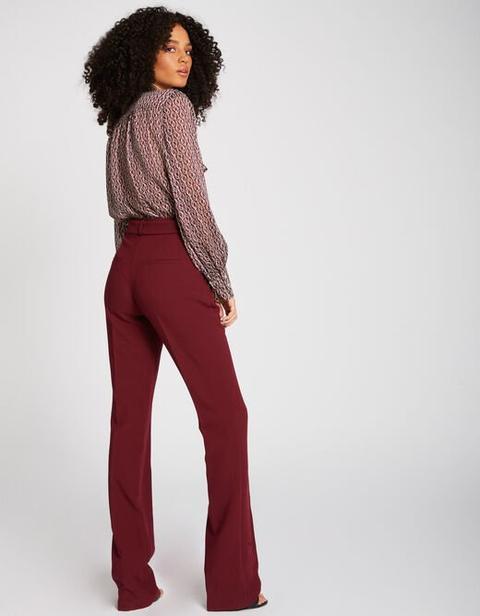 Pantalon évasé Taille Haute Ceinturé Bordeaux Femme From Morgan De Toi On 21 Buttons
