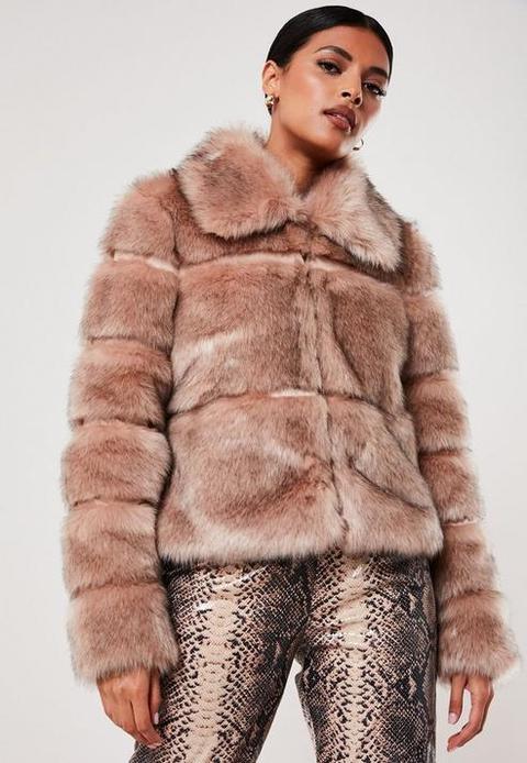 Nude Faux Fur Pelted Coat, Nude