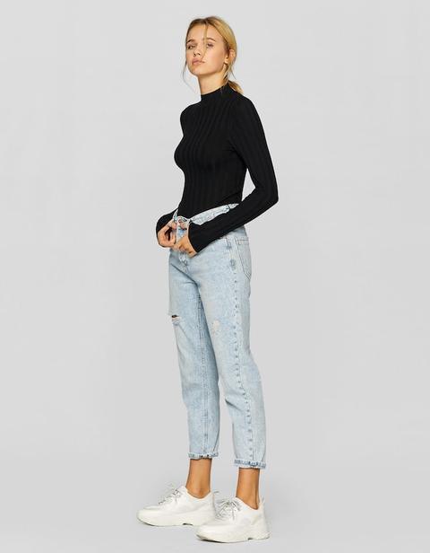 Mom Fit Basic Jeans Chiaro