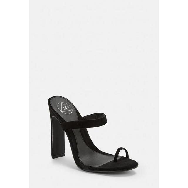 Black Toe Post Mules, Black from