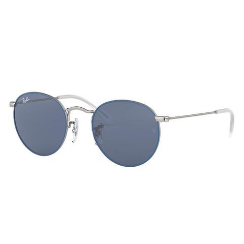 Round Metal Junior Unisex Sunglasses Lentes: Azul, Montura: Plata de Ray-Ban en 21 Buttons