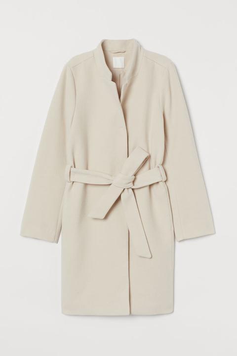 Abrigo Con Cinturón De Anudar - Beis de H&M en 21 Buttons
