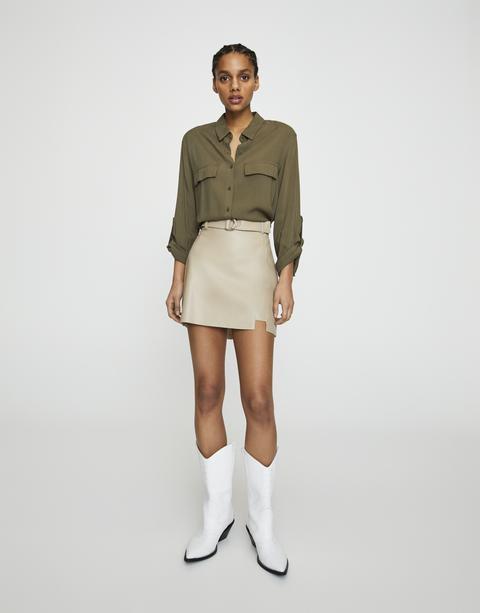 Minifalda Efecto Piel Cinturón