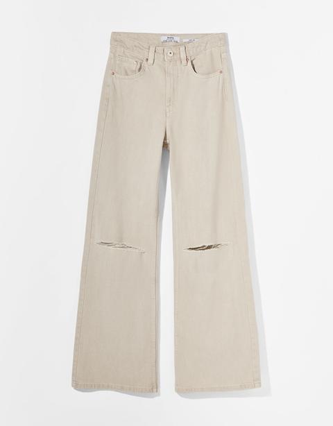 Pantalón Sarga Wide Leg Rotos