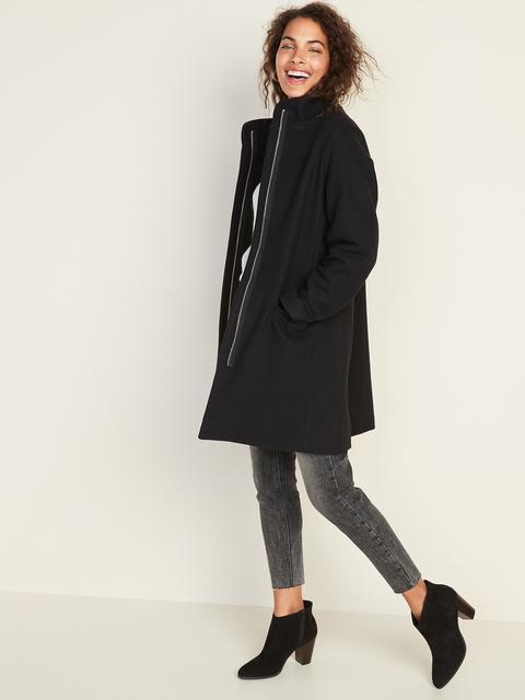 Soft-brushed Funnel-neck Coat For Women