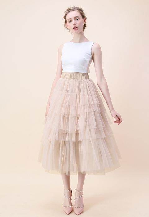 Romántica Falda Color Rosa Piel Con Capas De Tul de Chic wish en 21 Buttons