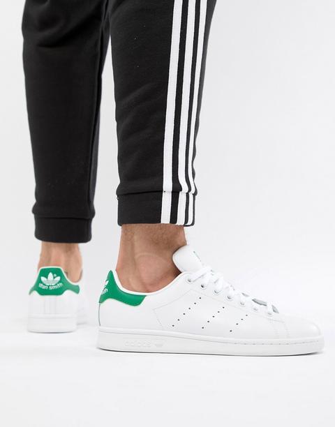 Zapatillas De Deporte Blancas Y Verdes De Cuero Stan Smith De Adidas Originals-blanco de ASOS en 21 Buttons