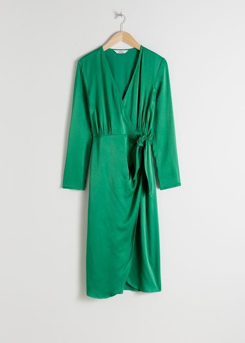 Side Tie Satin Midi Dress